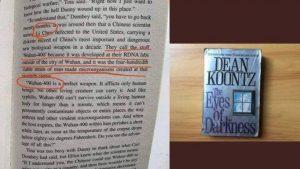 Buku The Eyes of Darkness dari Dean Koontz yang merupakan salah satu barang bukti adanya teori konspirasi pada Wabah ini