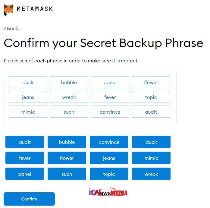 Key Phrase cek di MetaMask