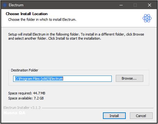 Menentukan folder instalasi Electrum